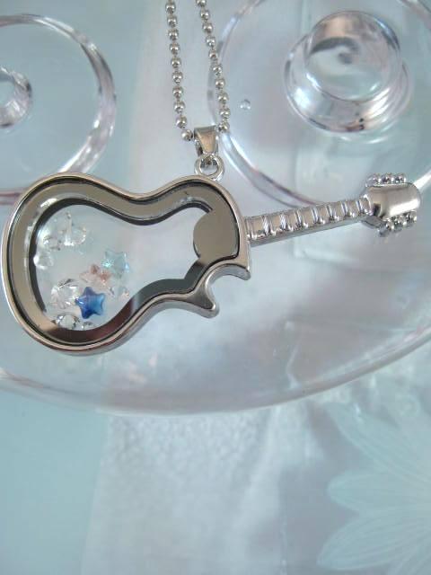 Elgitarr halsband med kristaller - Öppningsbar/Silver/Musik