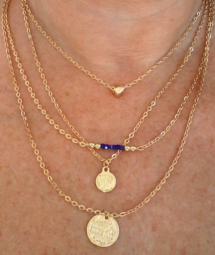 Bonus erbjudande 300 - Guldhalsband med symboler - Fyrradigt