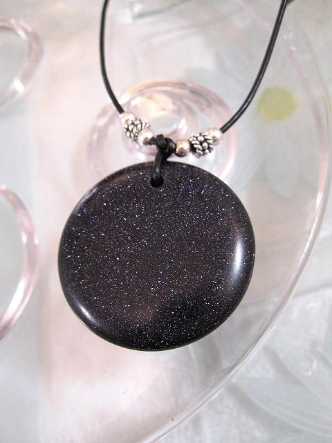 Guldsten hängsmycke på svart läderrem halsband - Marinblå/Långt