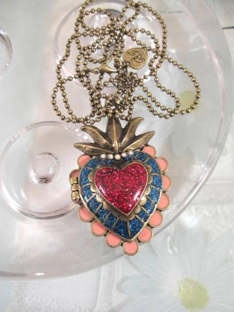 Långt halsband med hjärta - Öppningsbar/Antik