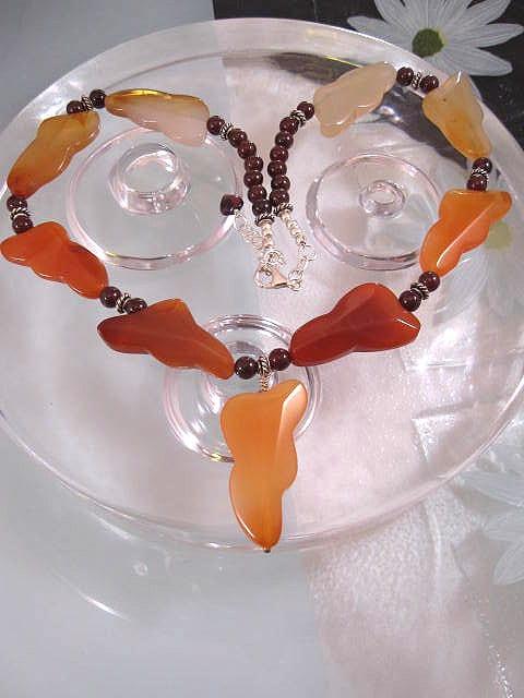 Karneol o Granater halsband - Multifärg