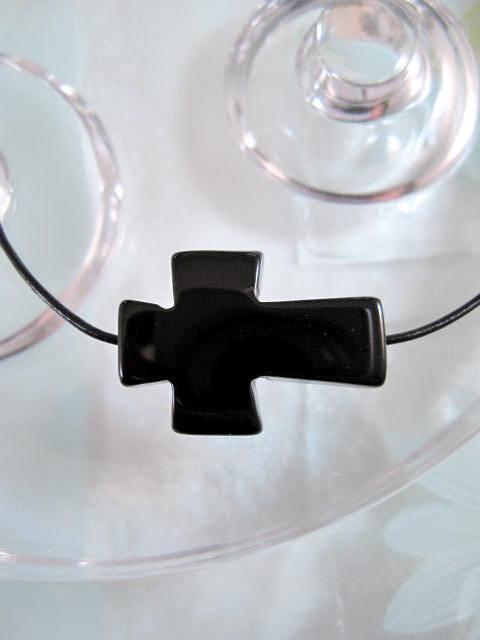 Agat kors på läderrem halsband - Svart/Unisex