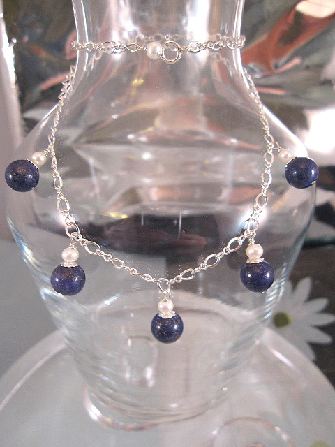 Lapis Lazuli o Sötvattenspärlor på kedja halsband - Berlock
