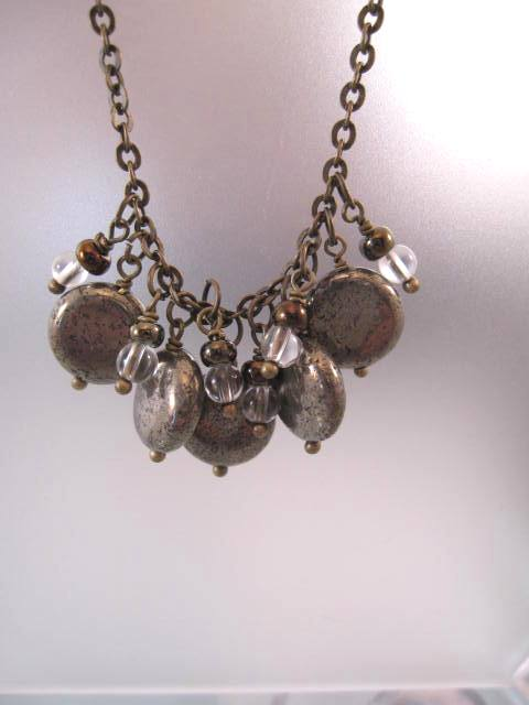 Pyrit, Bergskristall o Glas halsband - Antik