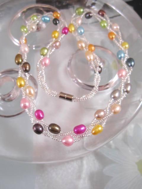 Sötvattenspärlor halsband - Treradigt/Multifärg/Magnetlås