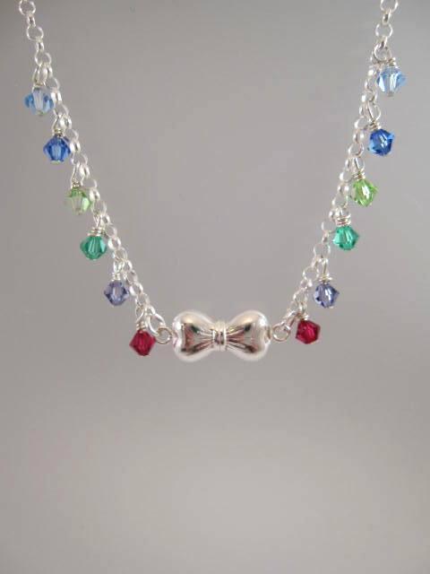 Swarovskikristaller på kedja halsband - Multifärg/Rosett