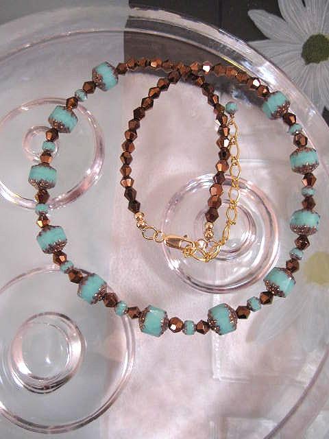 Guld, Vermeil halsband med glaspärlor - Turkos/Koppar
