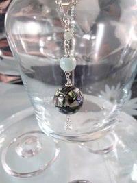 Abalone, Akvamarin hängsmycke - Paua snäcka/Mosaik