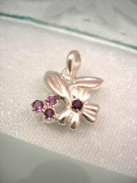 Silverhänge med 4 Ametister - Blomma