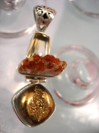 Citrin, Citrin kluster o Guld drusy hängsmycke - Fasett