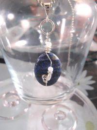 Lapis Lazuli o Månstenspärlor hängsmycke - Oval/Inlindad