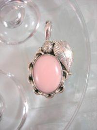 Opal hängsmycke - Cab/Oval/Blomma/Löv/Rosa