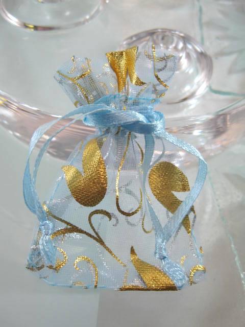 Presentpåse Organza - Blå/Ljusblå/Guldtulpaner