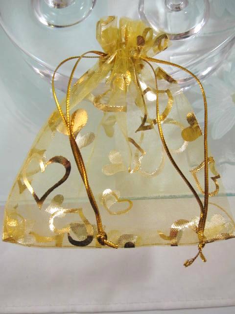 Presentpåse Organza - Champagne/Guldhjärtan