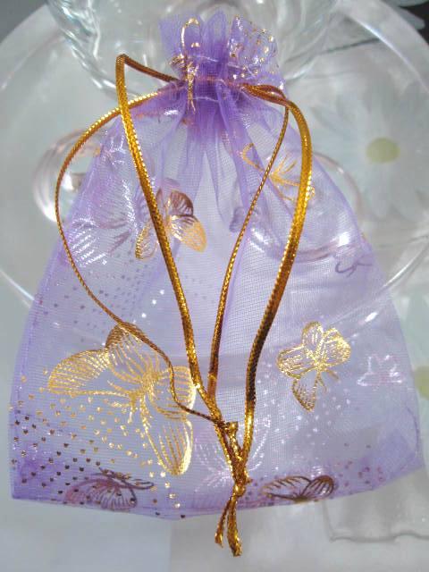 Presentpåse Organza - Lila/Guldfjärilar