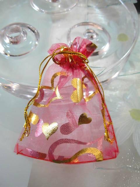 Presentpåse Organza - Rosa/Guldhjärtan