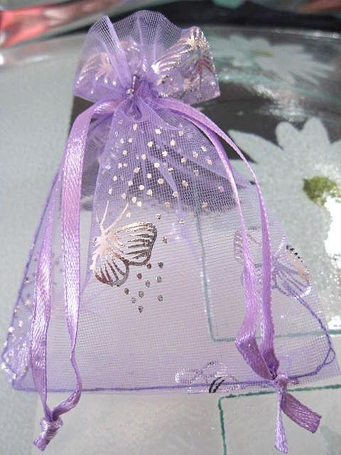 Presentpåse Organza - Lila/Silverfjärilar