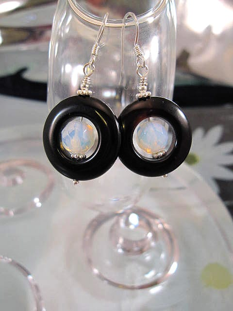 Agat o Opalit örhängen - Cirkel/Fasett/Ljusblå
