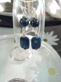 Azurit-Malakit örhängen - Blå/Grön