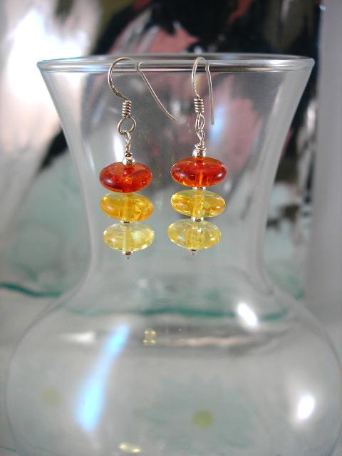 Bärnsten Harts örhängen - Rondeller/Multifärg
