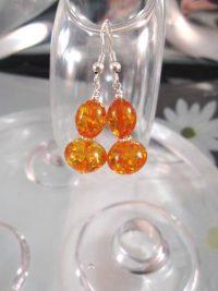 Bärnsten Harts örhängen - Orange