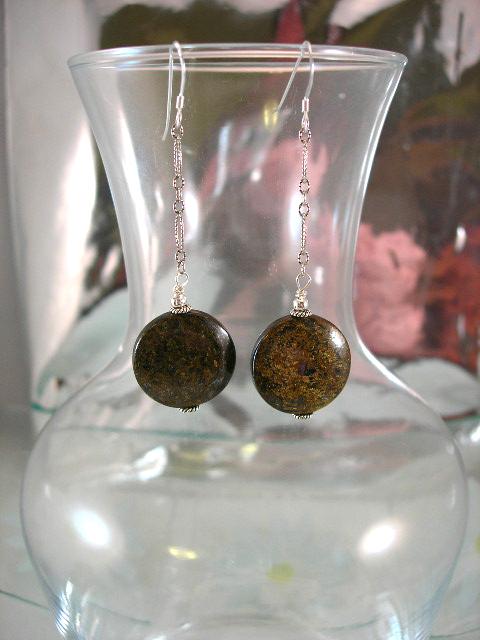 Långa Bronsit på kedja örhängen - Coin