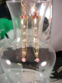 Kristall örhängen rosa - Chandelier/Långa