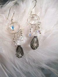 Swarovskikristall örhängen - Svart diamant/Kristall AB/Chandelier