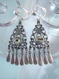 Clips örhängen med Abalone, Paua snäcka - Långa