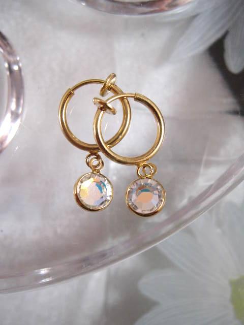 Clips creoler örhängen med Swarovskikristaller - Vit AB/Guldpläterade