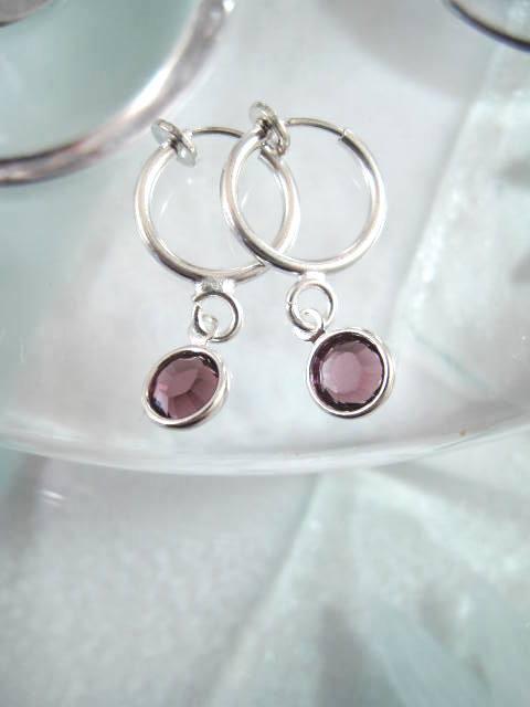 Clips creoler örhängen med Swarovskikristaller - Lila