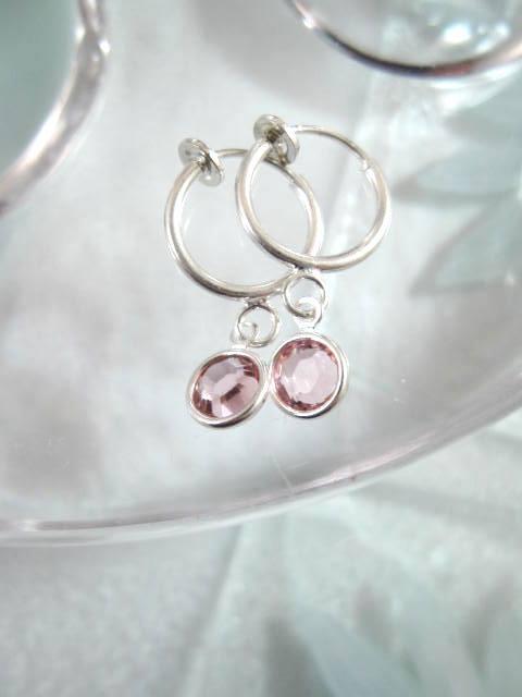 Clips creoler örhängen med Swarovskikristaller - Rosa
