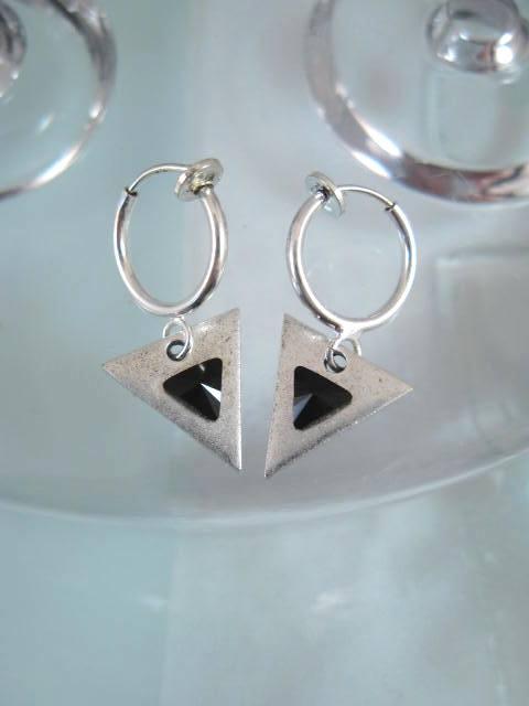 Clips Creoler örhängen med triangel o Swarovski - SP