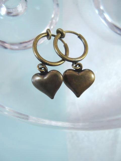 Clips creoler örhängen - Hjärta/Antik