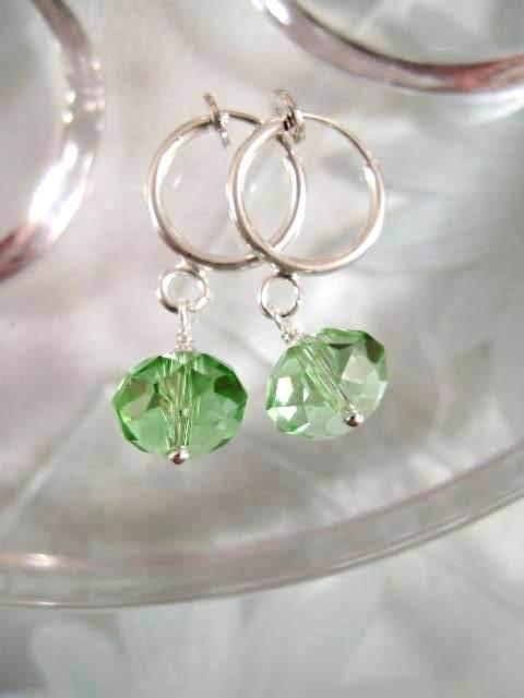 Clips creoler örhängen med Kristaller - Fasett/Grön