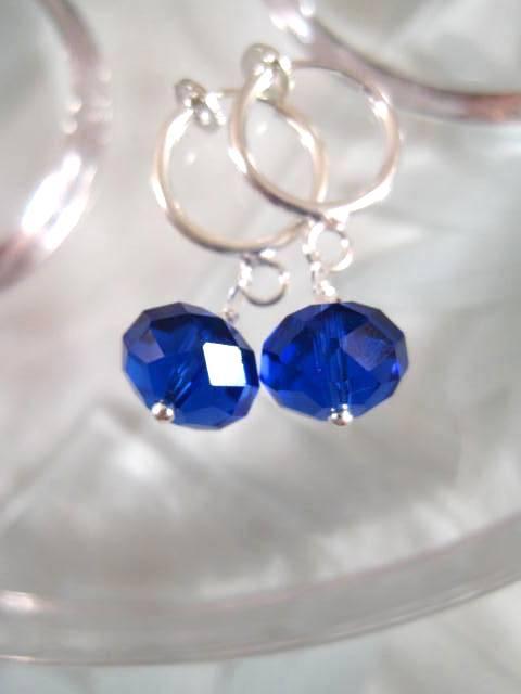 Clips creoler örhängen med Kristaller - Fasett/Koboltblå