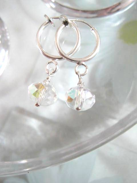 Clips creoler örhängen med Kristaller - Fasett/Vit