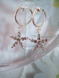 Clips creoler örhängen med Diamante Strass Stjärna 3,3 cm