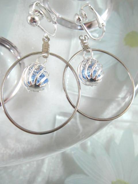 Clips creoler örhängen med bur av kristaller