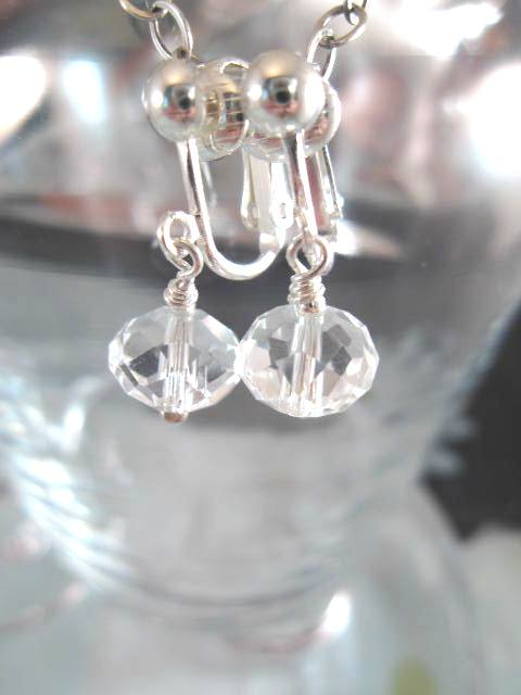 Clips örhängen med Kristallpärlor - Fasett/Vit