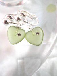 Clips örhängen med glas och Kubisk Zirkonia - Hjärtan/Grön
