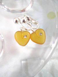 Clips örhängen med glas och Kubisk Zirkonia - Hjärta/ Gul
