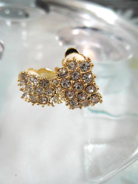 Clips creoler örhängen med Strass 2 cm - Huggies/Guld/GP