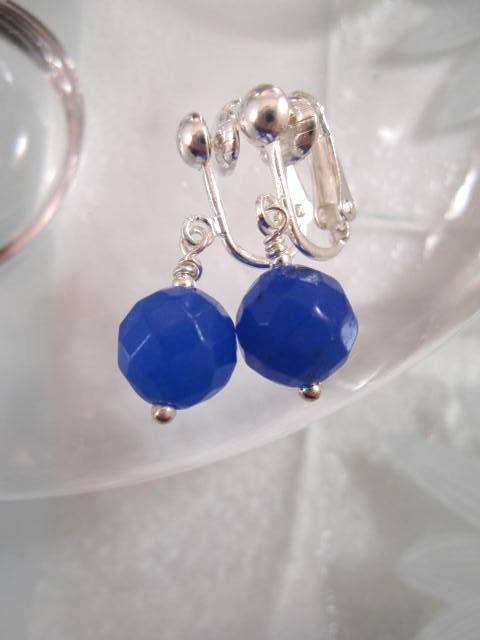 Clips örhängen med Jadepärlor - Fasett/Koboltblå