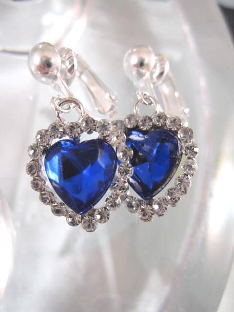 Clips örhängen med Glashjärtan - Koboltblå