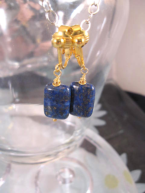 Clips örhängen med Lapis Lazuli - Blå/14K GF