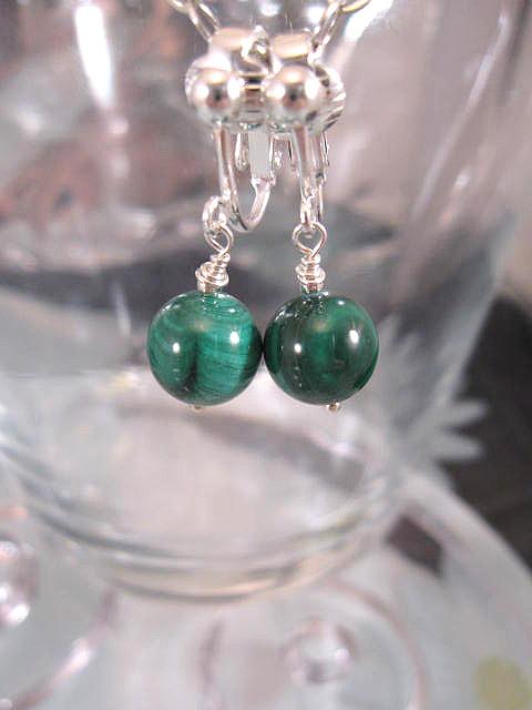 Clips örhängen med Malakitpärlor - Grön
