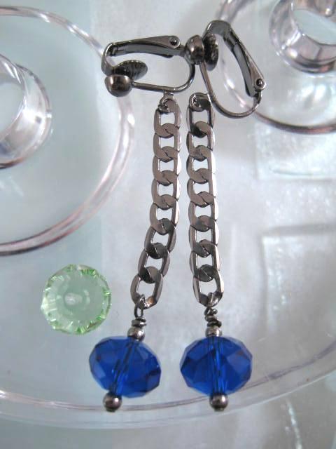 Clips örhängen med Kristaller på kedja - Koboltblå/Långa