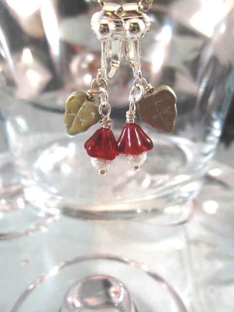 Clips örhängen med Glaspärlor
