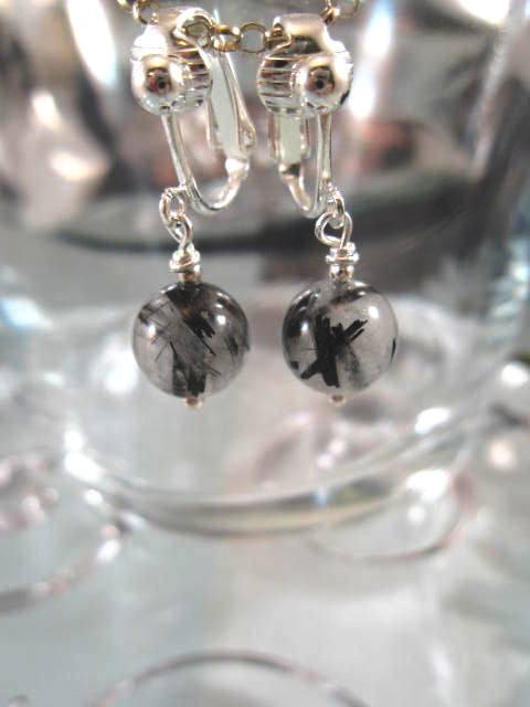 Clips örhängen med Rutilkvartspärlor - Svart/Silverpläterade
